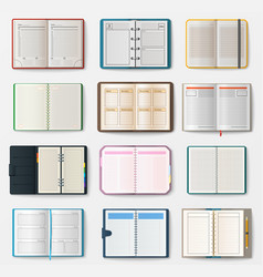 set of open notebooks with pages vector image vector image