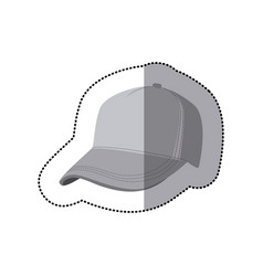 Sticker grayscale silhouette with baseball cap vector