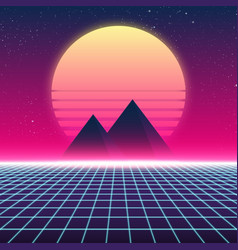 synthwave retro design pyramids and sun vector image