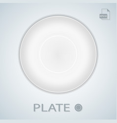 white simple plate isolated on a background vector image vector image