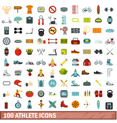 100 athlete icons set flat style vector
