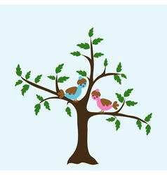 Decorative floral tree and bird vector