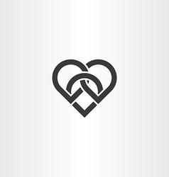 Heart knot black icon design vector
