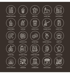 Coffee making equipment line icons tools - vector