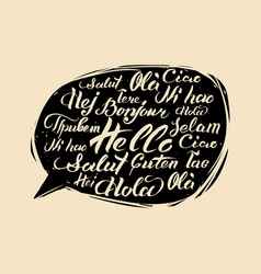 lettering hello written in different vector image