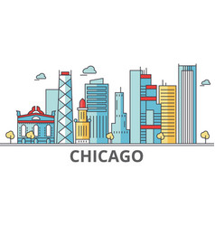 Chicago city skyline buildings streets vector