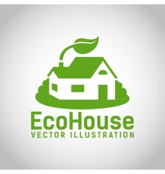 green eco house icon vector image