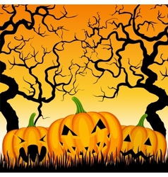 Three pumpkins and trees vector