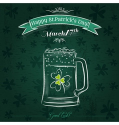 Green card for st patricks day with beer mug vector
