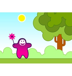 funny child with a wind toy vector image