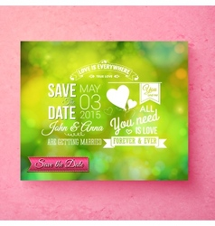 Fresh green organic save the date wedding template vector