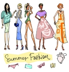 Summer fashion hand drawn doodles vector