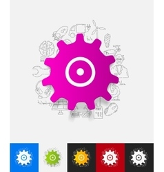 Cogwheel paper sticker with hand drawn elements vector