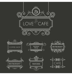 Vintage signboards set vector