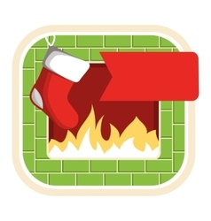 Christmas label icon flat with fireplace and sock vector