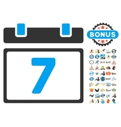 7 day calendar page icon with 2017 year bonus vector