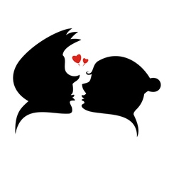 Loving couple and heart silhouette vector