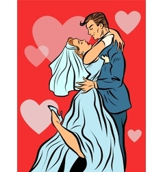 The bride and groom married wedding card vector