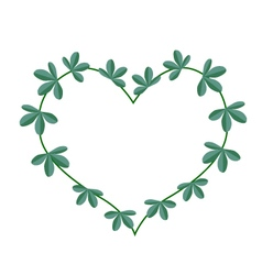 Green leaves in a heart shape wreath vector