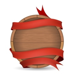 Wooden barrel wrapped in red ribbon vector
