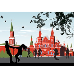 Couples on the red square vector