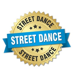 Street dance 3d gold badge with blue ribbon vector