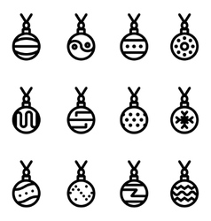 Line christmas ball icons set vector