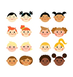 Multicultural national children heads flat style vector