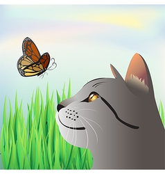 a butterfly and a cat vector image vector image