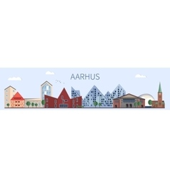 Aarhus landmarks and monuments in flat style vector image