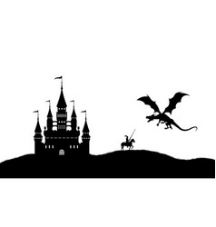 black silhouette of dragon and knight vector image