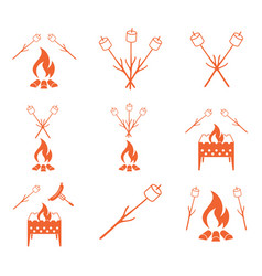 Brazier zephyr and sausage icon vector