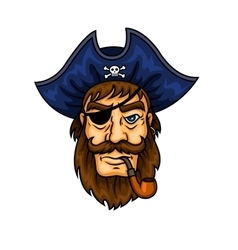 Cartoon pirate captain with smoking pipe vector