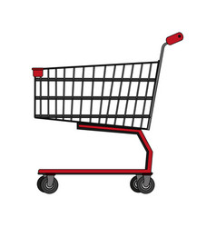 Color image realistic shopping cart of supermarket vector