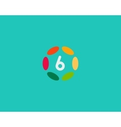 Color number 6 logo icon design hub frame vector