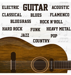 Different types of guitar music background vector image vector image