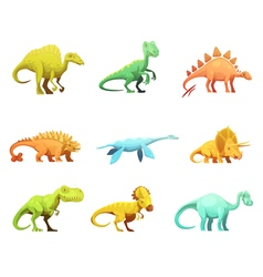 Dinosaurus retro cartoon characters icons vector