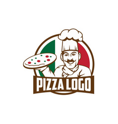 Emblem of funny cook or baker with pizza and logo vector