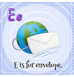 Flashcard letter e is for envelope vector