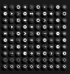 Flat arrow icon hexagon web button vector