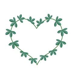 Green leaves in a heart shape wreath vector