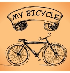 Hand-drawn bicycle on grungy background vector