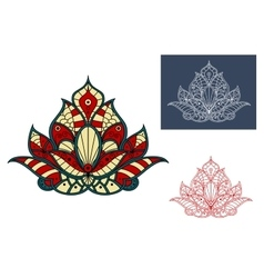 Indian flower with colorful paisley ornaments vector image vector image