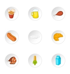 Junk food icons set cartoon style vector