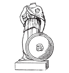 Minerva with aegis from an ancient statue vintage vector