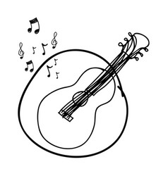 Monochrome hand drawing of guitar in circle and vector