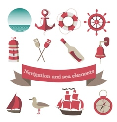 navigation and sea icons and elements with an vector image vector image