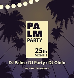 Party among palm trees vector