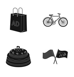 Racetrack shopping and or web icon in black style vector