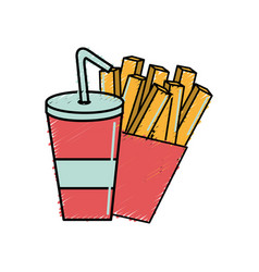 Refreshing soda with tasty fries french vector